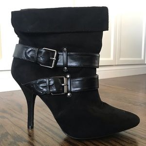 Women's suede, pointy toe booties